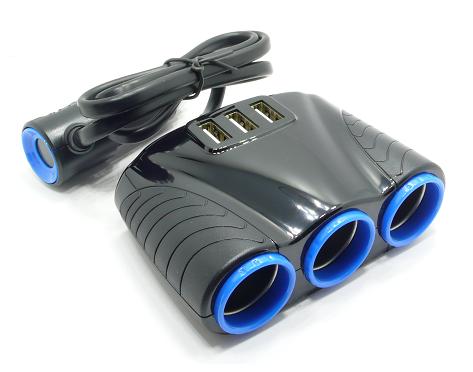 Разветвитель прикуривателя на 3 + 3 USB 1507